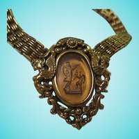 Rare Goldette Intaglio Cupid Winged Nymphs Book Chain Necklace Signed