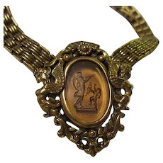 Rare Goldette Intaglio Cupid Winged Nymphs Book Chain Vintage Necklace Signed