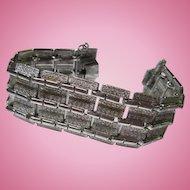 Coro Pegasus Wide Textured Silver tone Modernist Bracelet