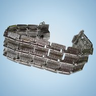 Coro Pegasus Wide Textured Silver tone Vintage Modernist Bracelet