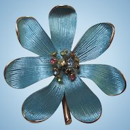 Gorgeous Blue Enamel with Multi Color Rhinestone Piston Vintage Brooch Pin