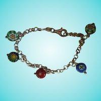 Colorful Millefiori Sterling Silver Vintage Rolo Chain Italy Murano Vintage Bracelet