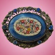Fabulous Czech Micro Mosaic Millefiori Flower Vintage Brooch Pin