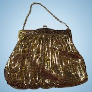 Vintage Whiting and Davis Art Deco Gold Mesh Evening Bag