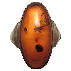 Art Deco Baltic Amber Cabochon Sterling Silver Ring