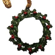 Vintage Enamel Holly Christmas Wreath Pendant on Gold tone Chain