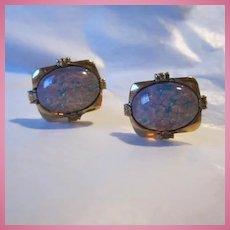 Fabulous Huge faux Fiery Opals Vintage Gold plate Cufflinks