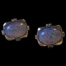 Fabulous Huge faux Fiery Opals Vintage Gold plate Cufflinks