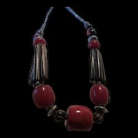 Fabulous Bone and Red Hand Made Statement Necklace