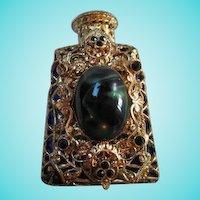 Gorgeous Czech Cobalt Vintage Jeweled fx Malachite Vanity Perfume Bottle