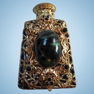 Gorgeous Czech Cobalt Vintage Jeweled fx Malachite Vanity Perfume Bottle