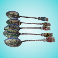 Five Enamel Bowl Hand Painted German Souvenir Spoons