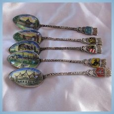 Set of Five Enamel Bowl Hand Painted German Vintage Souvenir Silver Spoons