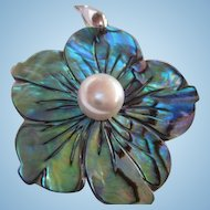 Stunning Iridescent Paua Abalone Flower fx Pearl Vintage Pendant