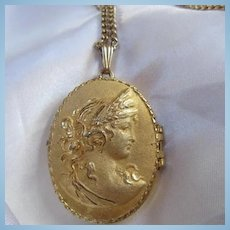 Gorgeous Large Vintage Cameo Locket on Chain