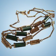 Vintage Sarah Coventry Faux Jade Green open link Necklaces Two lengths both Signed
