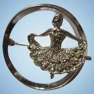 Art Deco Sterling Silver Marcasite Ballerina Circle Brooch