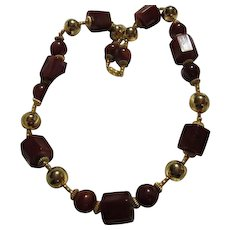 Magnificent French Caramel Bakelite Gold Plated Statement Runway  Vintage Necklace