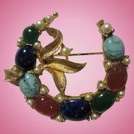Signed BSK Art Glass Stone Vintage Pendant Brooch Pin