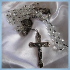 Fabulous Sterling Silver Rock Crystal Our Lady of Fatima Heirloom Estate Rosary Beads