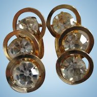 Beautiful Signed Judy Lee Triple Crystal Rhinestone Modernist Vintage Clip Earrings