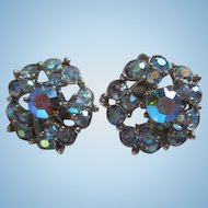 Bogoff Signed Iridescent Blue Aurora Borealis Clip Earrings