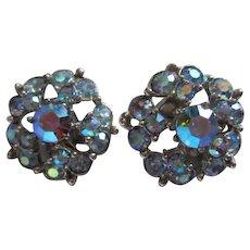 Bogoff Signed Iridescent Blue Aurora Borealis Clip Earrings