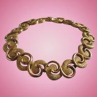 Trifari  Modernist  Swirled Textured Mint Vintage Bracelet