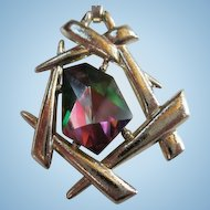 Signed Chinese Modern Swarovski Watermelon Trapezoid  Crystal Pendant Necklace Sarah Coventry