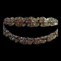 Radiant BSK Signed Aurora Borealis AB Rhinestone Vintage Necklace and Bracelet Demi Parure Set
