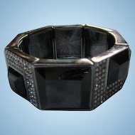 Fab Rare Art Deco Style Black Lucite Geometric Rhinestone Stretch Vintage Prototype Joan Rivers Bracelet