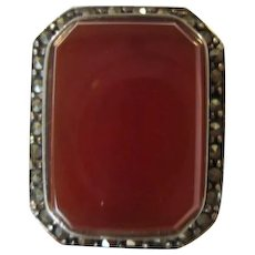 Exquisite Art Deco Carnelian Marcasite Superior Quality Sterling Silver Statement Ring