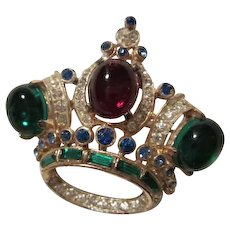 Regal CoroCraft Sterling Silver Jeweled Crown Brooch