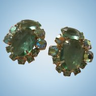 Gorgeous Aquamarine AB Rhinestone Vintage Clip Earrings 1950s