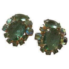 Gorgeous Aquamarine AB Rhinestone Vintage Clip Earrings 1950s