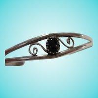 Native American Onyx Sterling Silver Vintage Cuff Bracelet