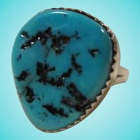 Old Pawn Native American Huge Turquoise Claw Tooth Bezel Set Sterling Silver Ring