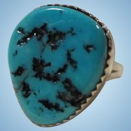 Old Pawn Native American Huge Turquoise Claw Tooth Bezel Set  Vintage Sterling Silver Ring