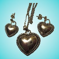 Sterling Silver Puffy Heart Necklace Matching Earrings Set