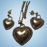 Sterling Silver Puffy Heart Necklace Matching Earrings Vintage Set