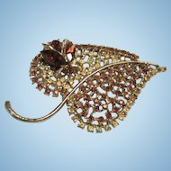 Rare Dodds signed Bug on Leaf Topaz and Citrine Rhinestone Statement Vintage Brooch Pin