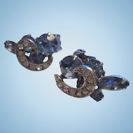 Gorgeous Weiss Signed Art Deco Blue Crystal Rhinestone Clip Earrings