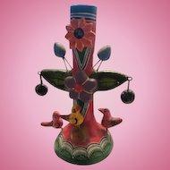 Mexican Folk Art Tree of Life Beautiful Flower Bird Vintage Candle Holder