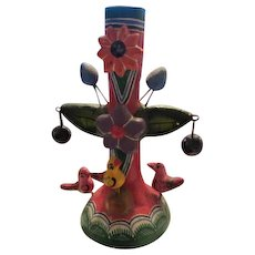 Mexican Folk Art Tree of Life Beautiful Flower Bird Vintage Candle Holder