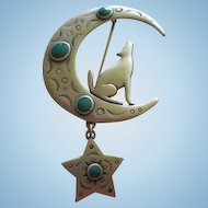 Signed JJ Coyote Moon Brooch Dangling Star Southwestern Vintage Brooch Pin