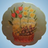 Lovely Vintage Hand Painted Basket Spring Flowers Signed  Brooch Pin