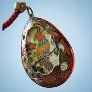Fabulous Rare Vintage Cloissone Bird of Paradise Reverses to Gorgeous Flower Pendant Matching Braided Rope Necklace