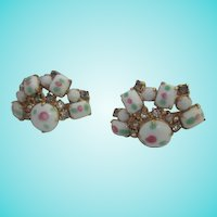 Wonderful Art Glass Rhinestone Fan Shape Earrings