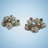 Wonderful Art Glass Rhinestone Fan Shape Vintage Screw Back Earrings