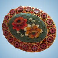Grand Tour Mosaic Colorful Flower Vintage Brooch Pin Italy